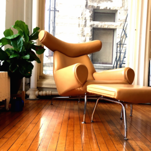 Fiddle Leaf Fig and Our Ox Chair Replica in Camel Tan Leather