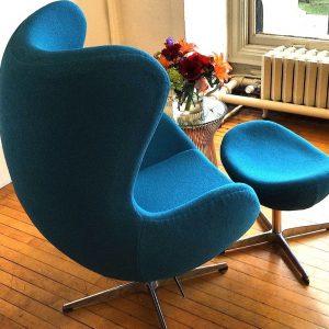 Aegean Blue Jacobsen-Style Egg Chair