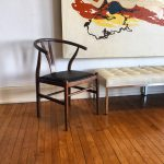 Wegner-Style Wish Bone Chair with Black Leather Seat