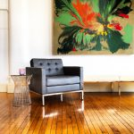 Knoll-Style Lounge Chair in Charcoal Gray