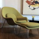 Our Saarinen-Inspired Womb Chair and Ottoman in Our Exclusive Chartreuse Green Boucle