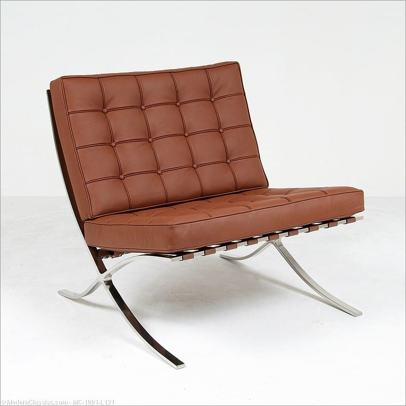 Mies Style: Exhibition Chair   Cocoa Brown Leather