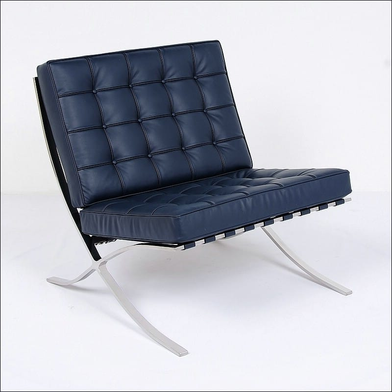 Mies Style Exhibition Chair Navy Blue Leather