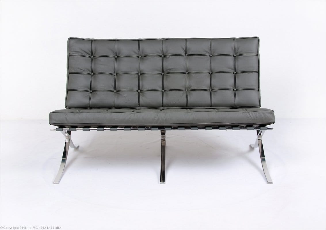 Barcelona Loveseat Charcoal Gray Leather