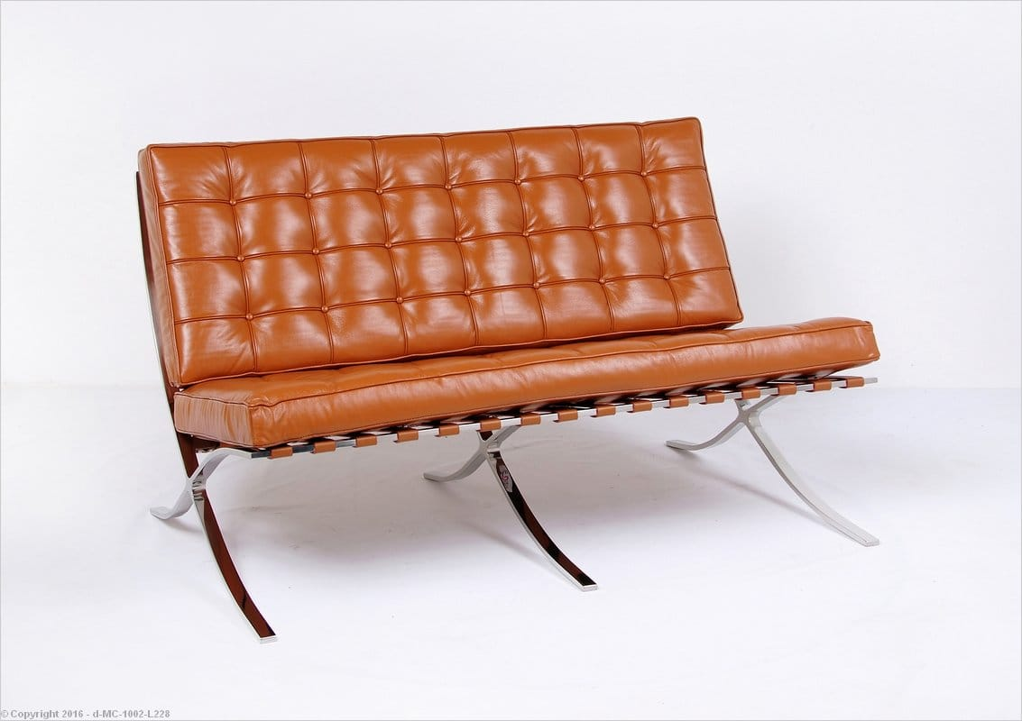 Awe Inspiring In Stock Saddle Brown Leather Barcelona Loveseat Mies Van Gmtry Best Dining Table And Chair Ideas Images Gmtryco
