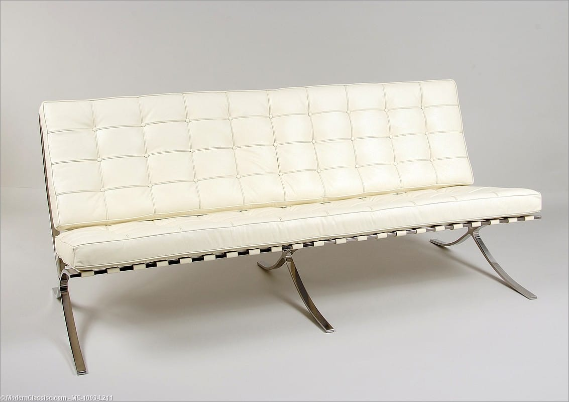 Barcelona Sofa Beige White Leather Mies Van Der Rohe