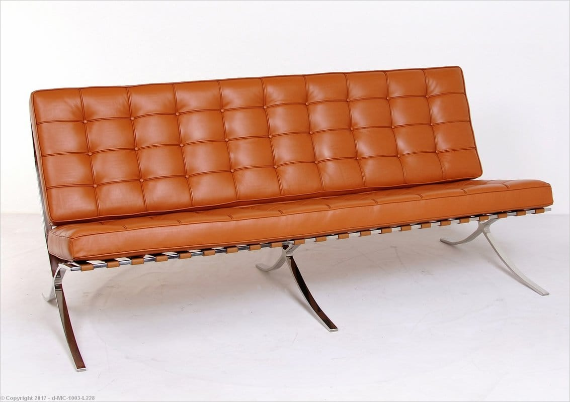 Mies Style Exhibition Sofa Honey Tan Leather