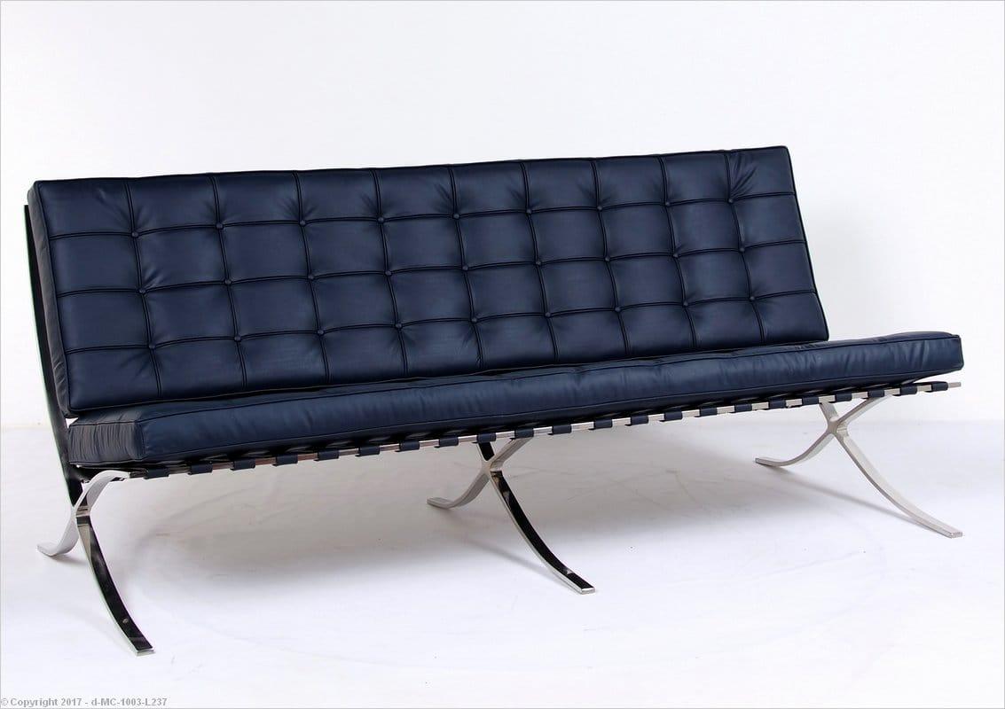 Barcelona Sofa Navy Blue Leather Mies Van Der Rohe