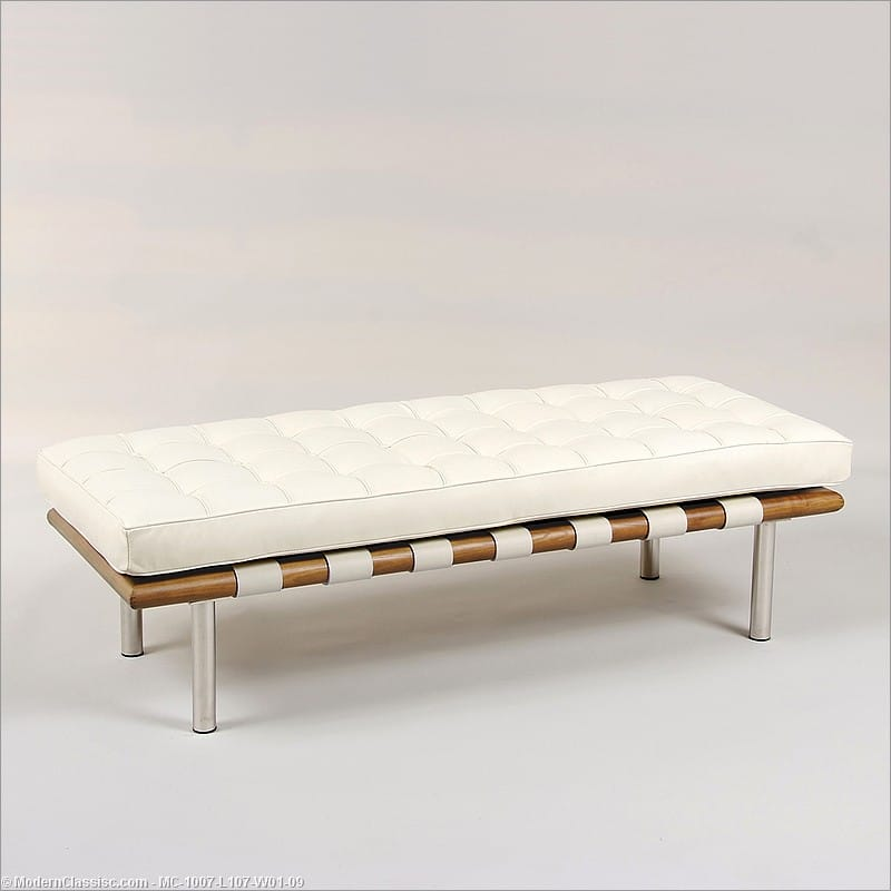 Barcelona 2 Seat Bench Ivory Leather Mies Van Der Rohe