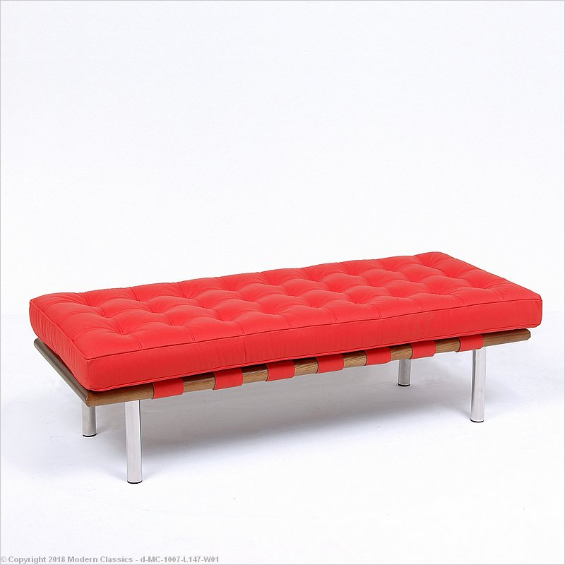 Barcelona 2 Seat Bench Red Leather Mies Van Der Rohe