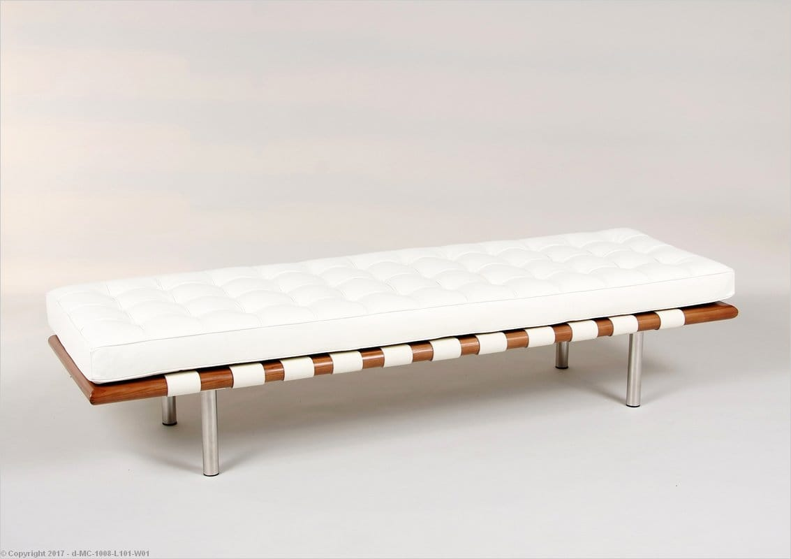 In Stock Bright White Leather Barcelona Bench 3 Seater