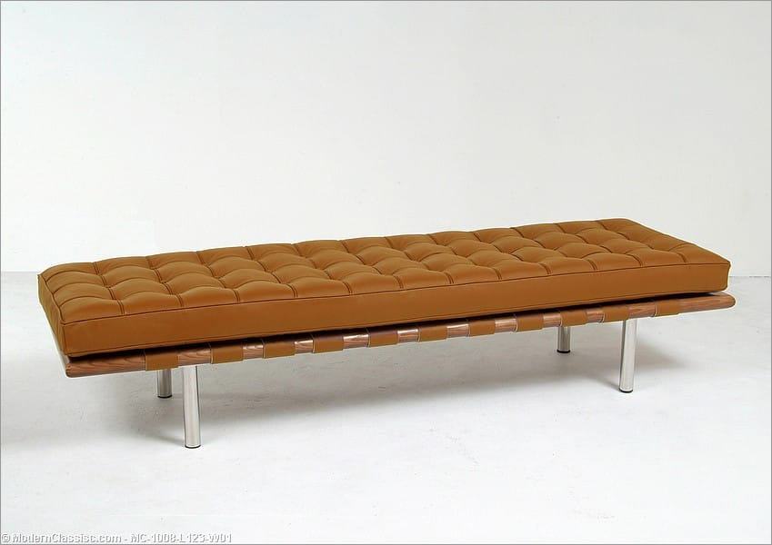 Barcelona 3 Seat Bench Autumn Tan Leather Mies Van Der Rohe