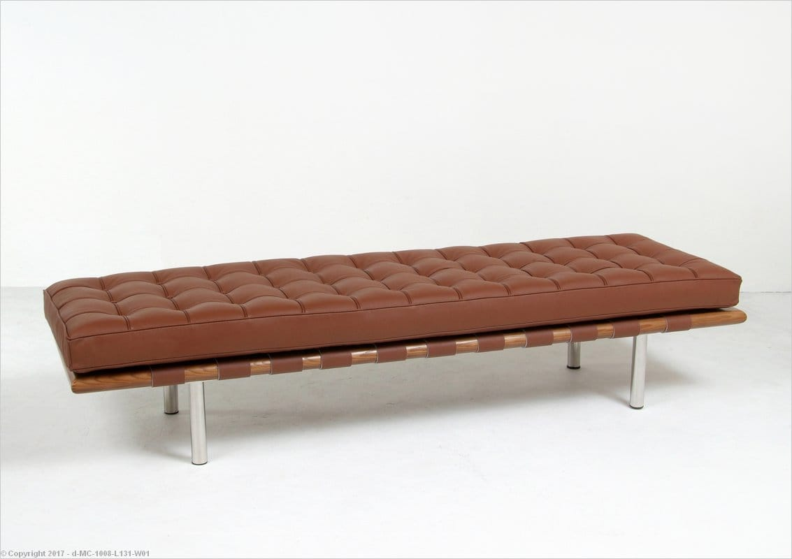 Mies Style: Exhibition 3 Seat Bench   Cocoa Brown Leather