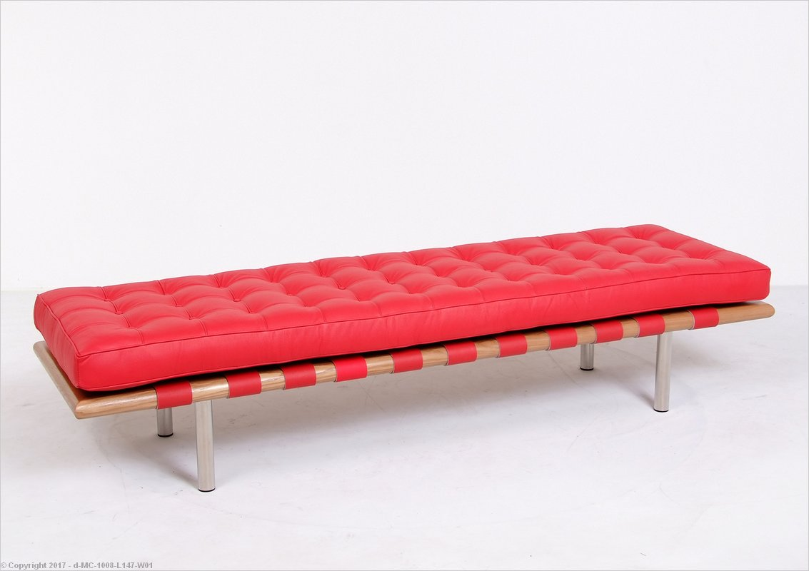 Barcelona 3 Seat Bench Red Leather Mies Van Der Rohe