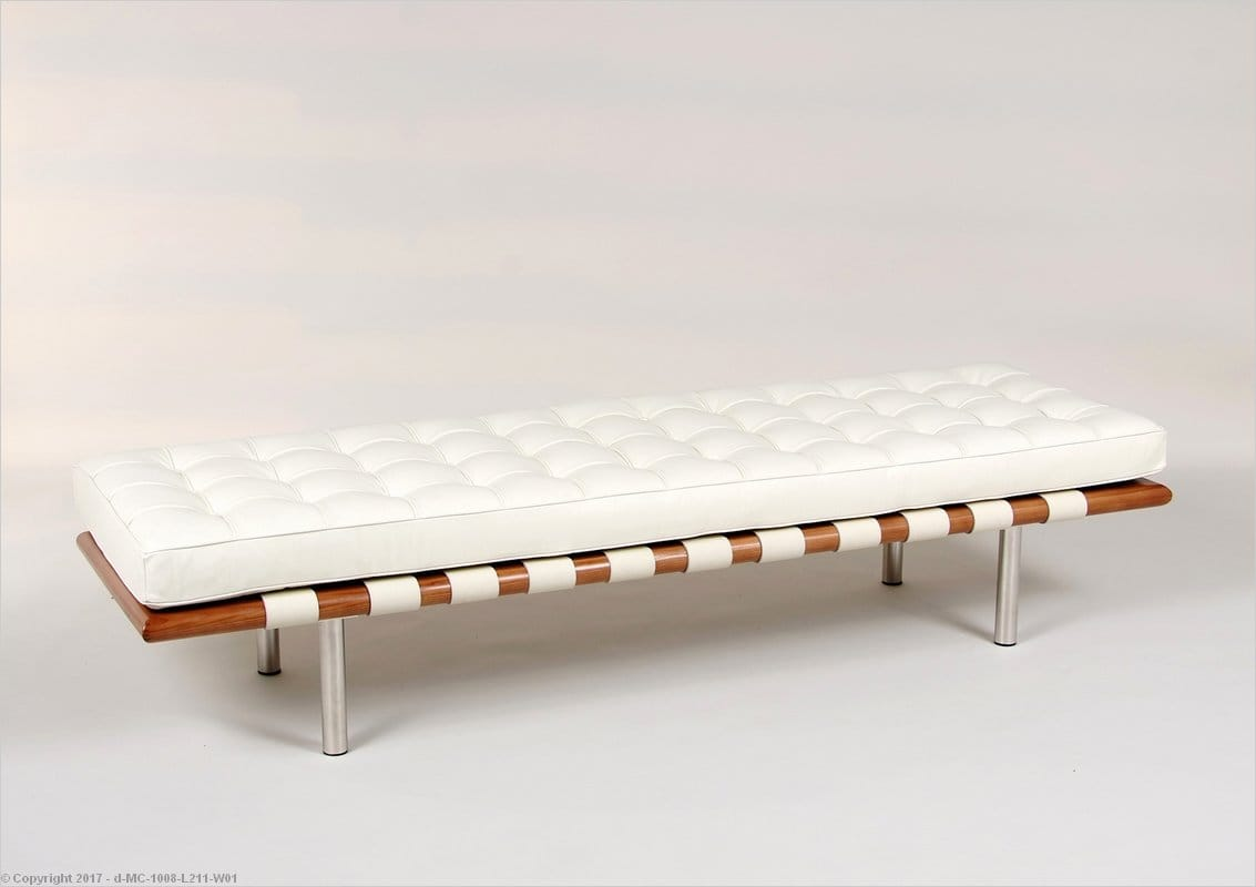 Barcelona 3 Seat Bench Ivory Leather Mies Van Der Rohe