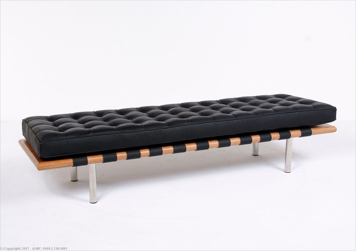 Barcelona 3 Seat Bench Matte Black Leather Mies Van Der Rohe