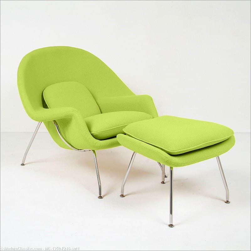 Saarinen Style: M70 Womb Chair Chair   With Ottoman   Lime Green Fabric