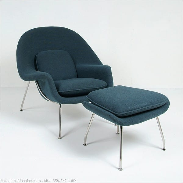 Saarinen womb chair and ottoman reproduction caribe blue fabric