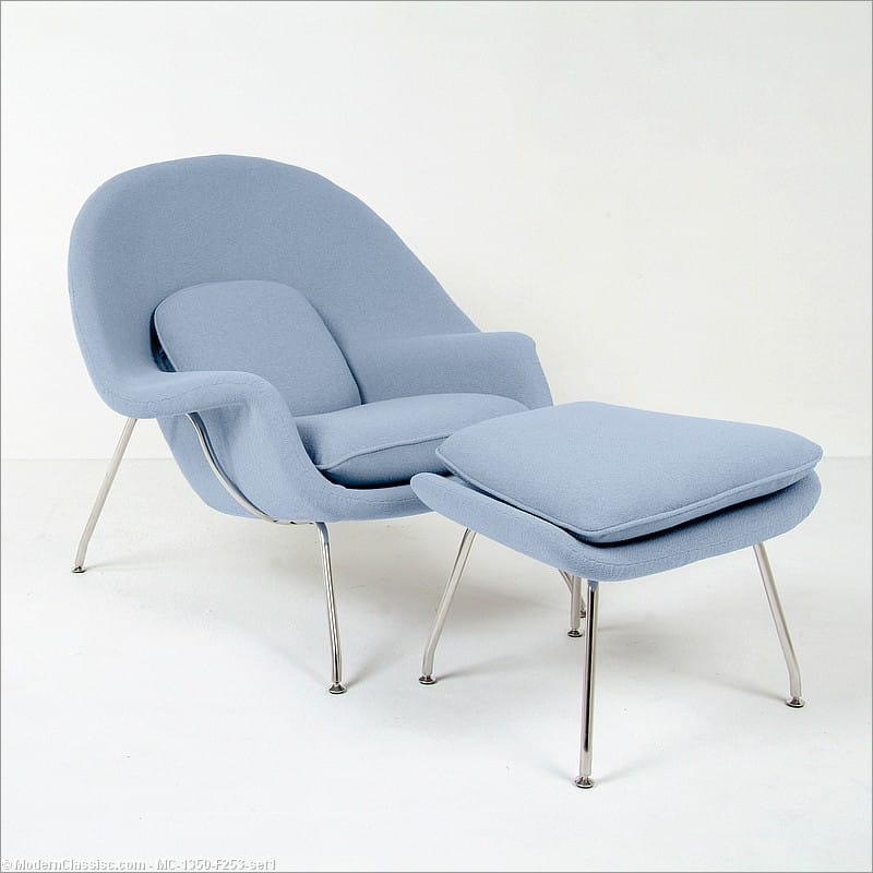 Womb chair replica with ottoman powder blue fabric saarinen - Saarinen womb chair replica ...