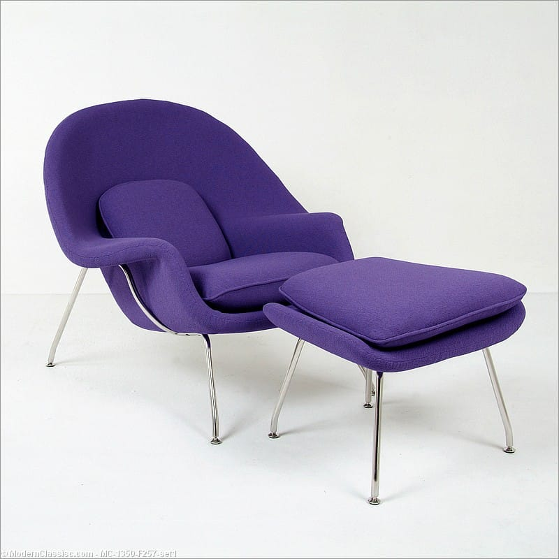 Womb chair replica with ottoman plum purple fabric saarinen - Replica womb chair ...