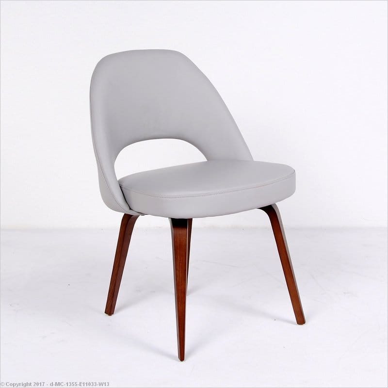 Saarinen Side Chair Light Gray Leather