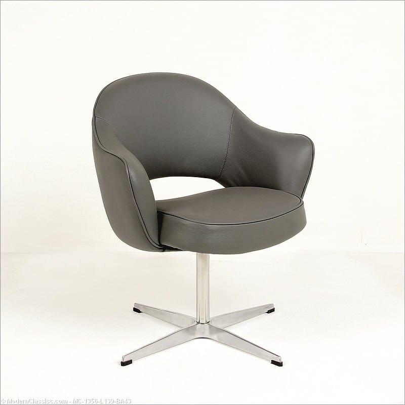 Saarinen Arm Chair Replica Gray Leather Swivel Base