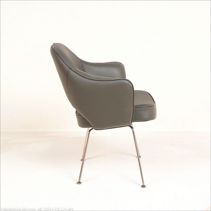 Saarinen Arm Chair Gray Leather