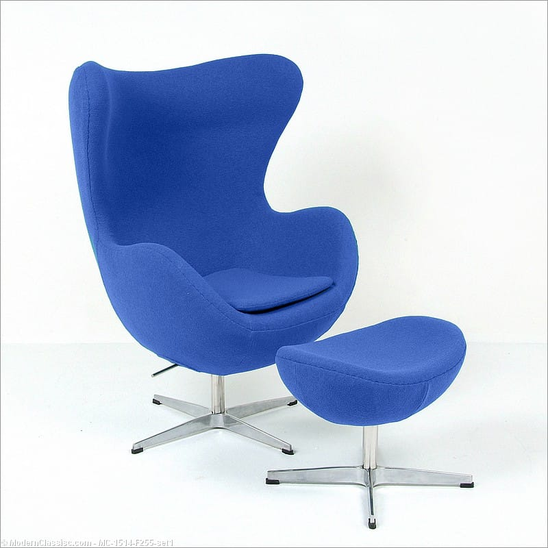 Jacobsen Style: Egg Chair   With Ottoman   Royal Blue