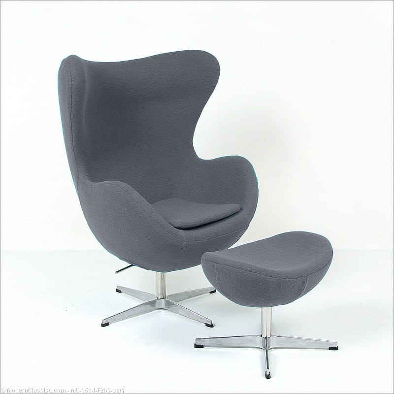 egg chair replica with ottoman smoke gray jacobsen. Black Bedroom Furniture Sets. Home Design Ideas