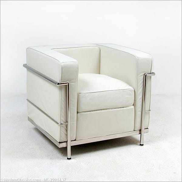 In-Stock: Cream White Leather LC2 Lounge Chair le Corbusier ...