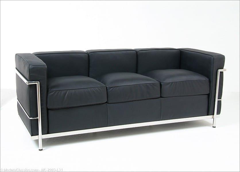 le corbusier lc 2 sofa matte black leather