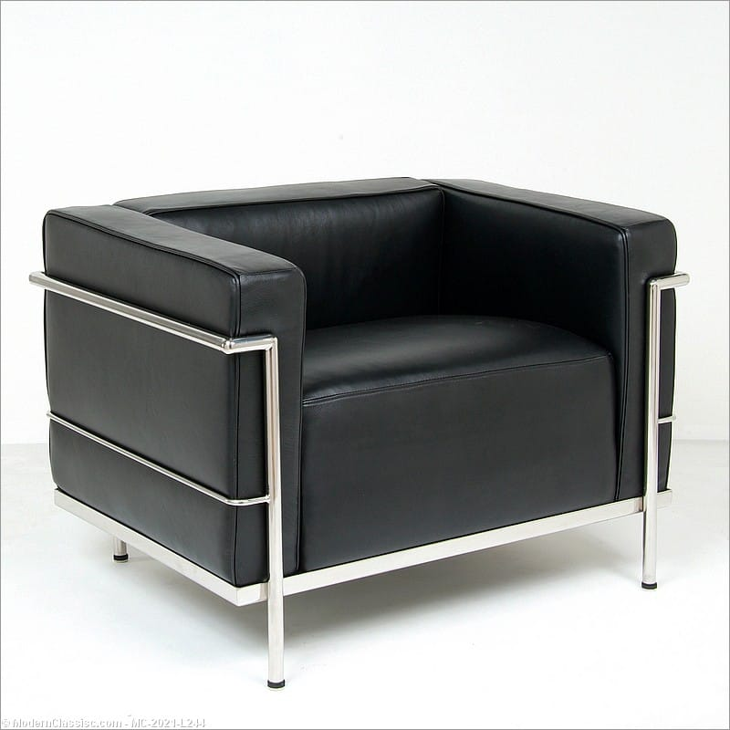 In Stock Black Leather Lc3 Lounge Chair Le Corbusier