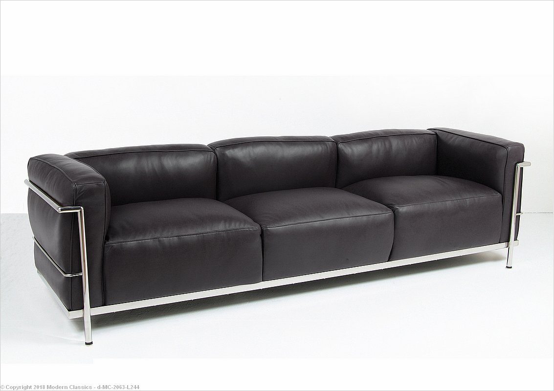 Le Corbusier Style: Grande Feather Relaxed Sofa   Premium Black Leather