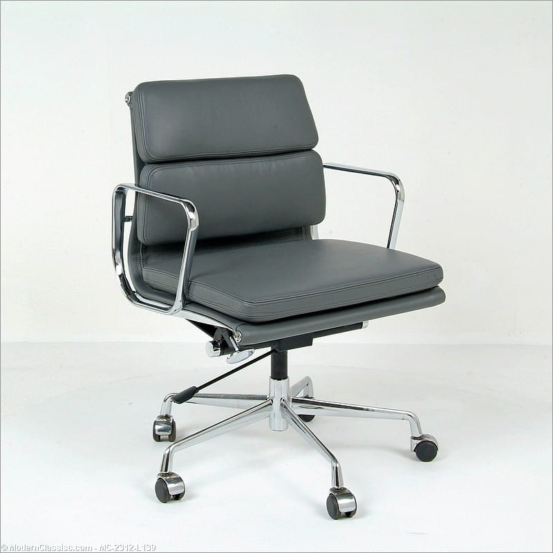 eames soft pad office chair mid back gray leather