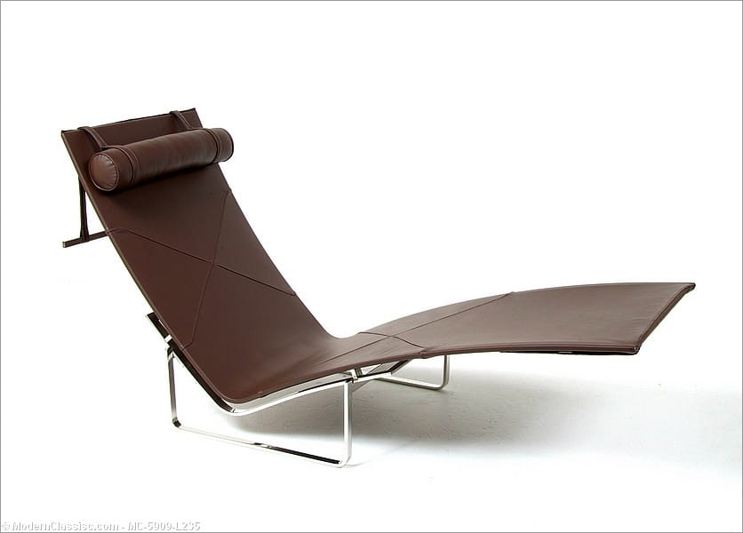 Kjaerholm pk24 chaise lounge brown leather for Brown leather chaise lounge
