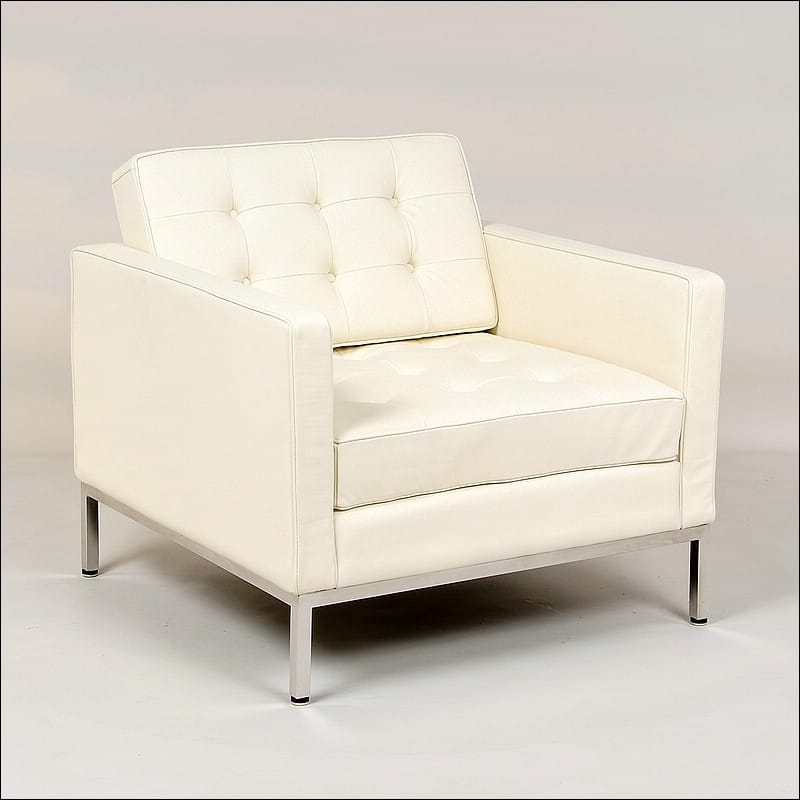 Florence Knoll Style: Lounge Chair   Cream White Leather