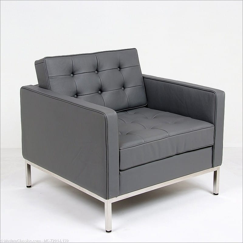 Florence Knoll Style: Lounge Chair - Charcoal Gray Leather