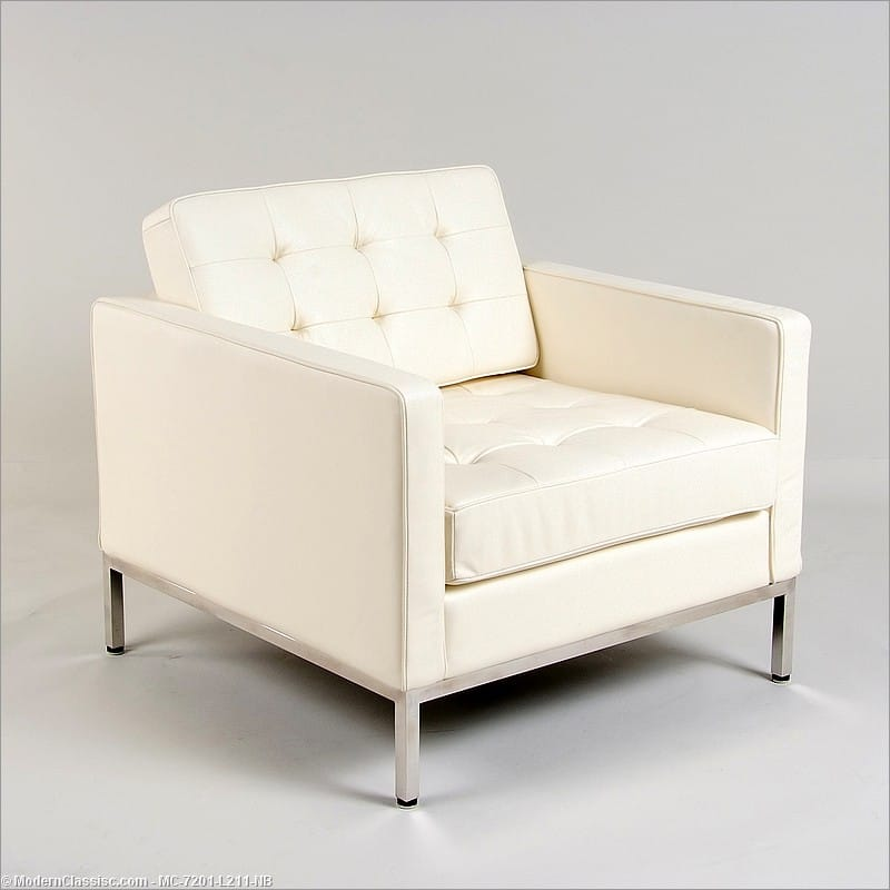 Bon Florence Knoll Style: Lounge Chair   Beige White Leather