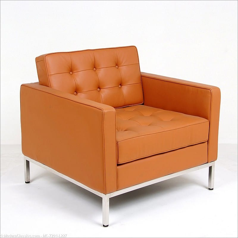 Superieur Florence Knoll Style: Lounge Chair   Golden Tan Leather