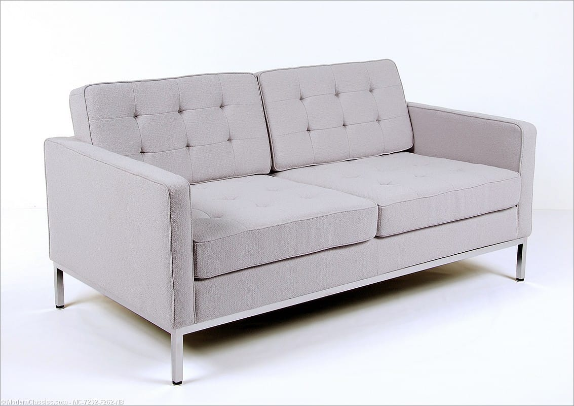 Florence Knoll Loveseat Silver Gray Fabric