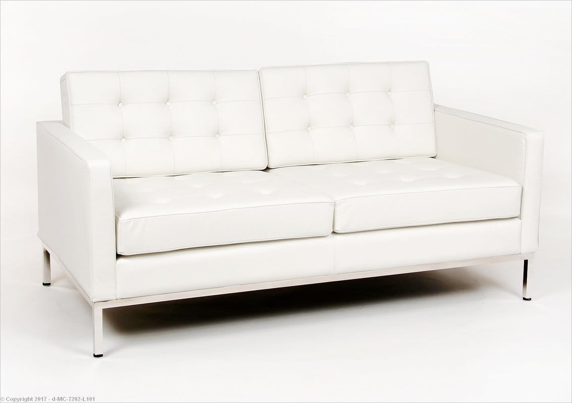 Florence Knoll Loveseat Arctic White Leather