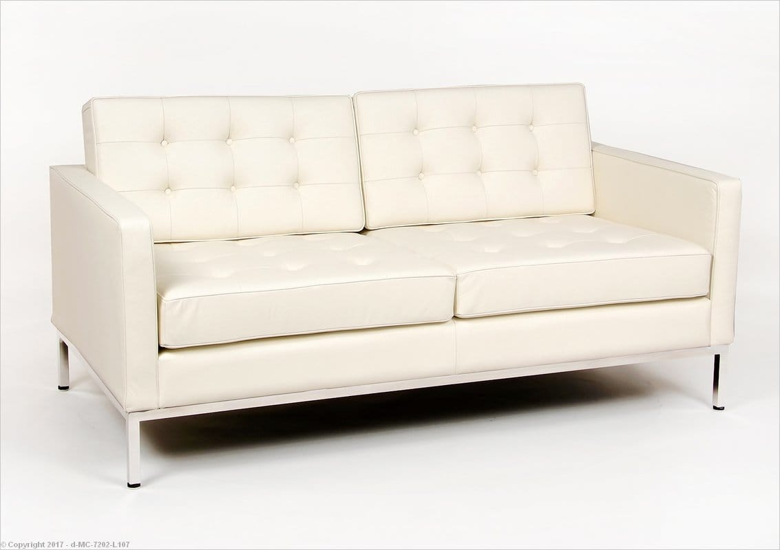 Florence Knoll Loveseat Cream White Leather