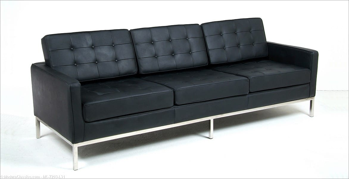 Florence Knoll Sofa Standard Black Leather