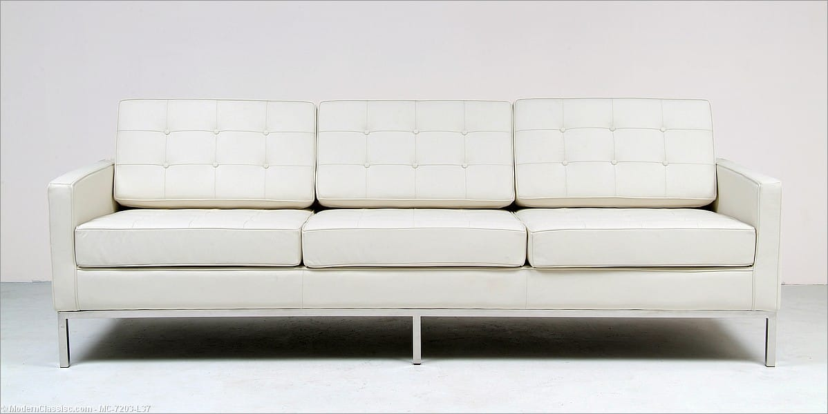 florence knoll sofa cream white leather. Black Bedroom Furniture Sets. Home Design Ideas