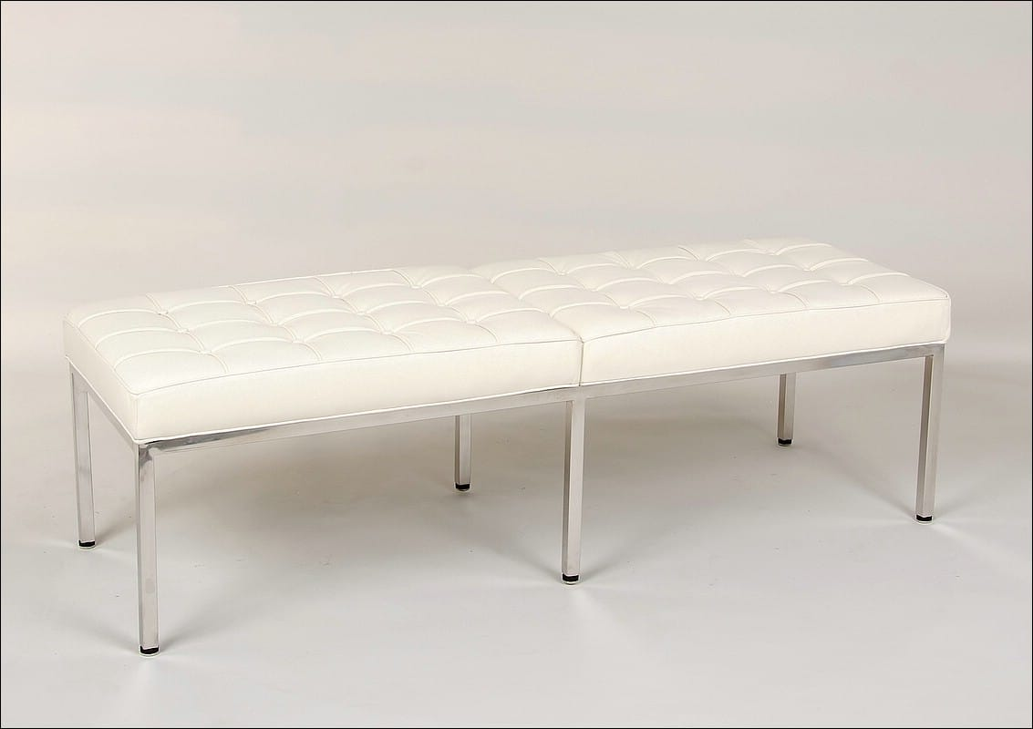 Florence Knoll 60 Inch Bench Cream White Leather