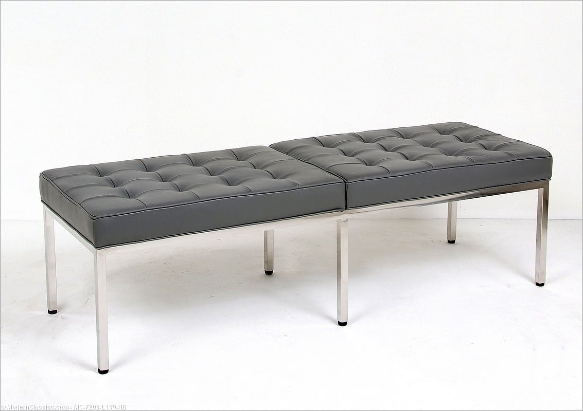 Florence Knoll 60 Inch Bench Charcoal Gray Leather