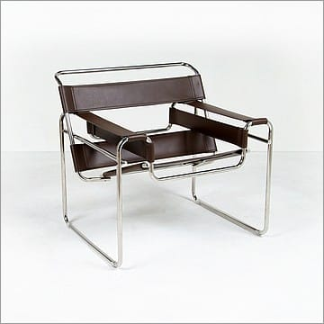 Breuer wassily chair reproduction espresso brown leather - Wassily chair replica ...