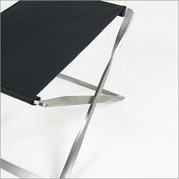 Kjaerholm PK91 Folding Stool in Black Leather