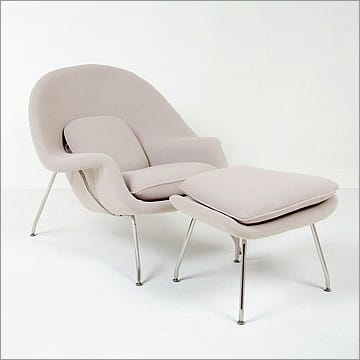 Womb chair replica with ottoman putty tan fabric saarinen - Saarinen womb chair reproduction ...