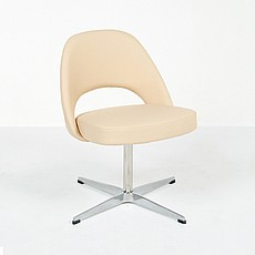 Saarinen: Dining Chair - Gray Leather with Ebonized Black Legs